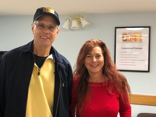 CCAR Staff Member, Cathy, Taking a Photo with CCAR Volunteer, Rob